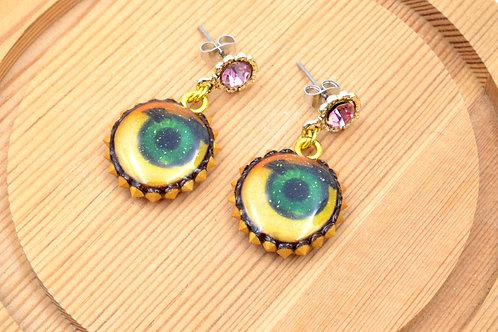 黃色眼睛圖案閃粉木片綴水晶鍋釘裝飾閃閃耳環 粉色水鑽耳托