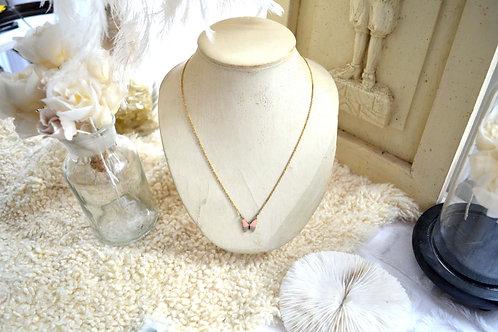 精緻細工鍍金粉紅灰色蝴蝶幼項鏈 日本高級二手古著珠寶首飾