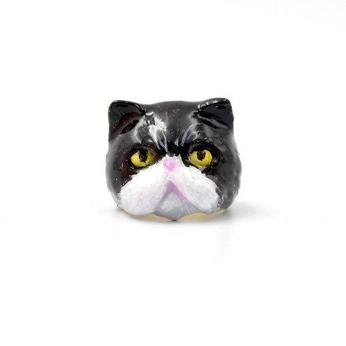 黃銅 手繪黑白色貓咪戒指 可訂製貓咪顏色 少量製作