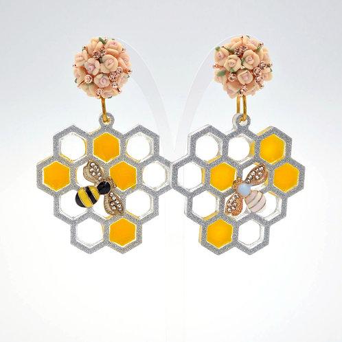 小蜜蜂立體蜂巢耳環