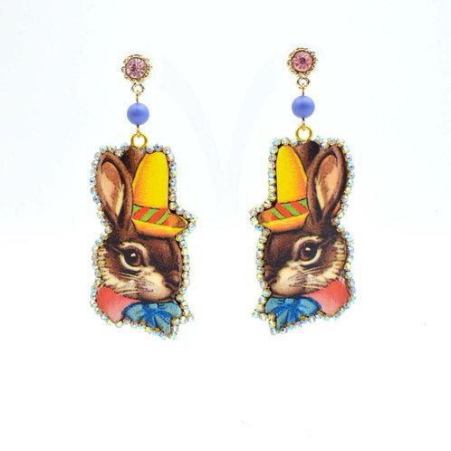 美國木片兔子紳士圖案耳環 綴施華洛水晶繞邊 超輕平面數碼打印 的副本 的副本