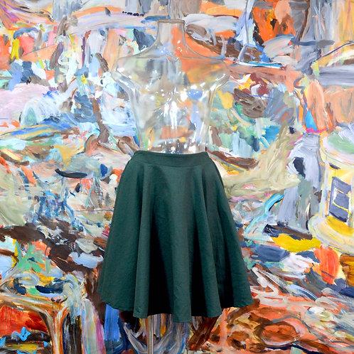 墨綠色帆布材質闊身圓檯波浪裙擺及膝裙 文青高貴優雅 日本古著