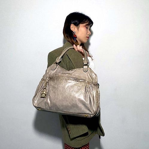 中古MIU MIU杏色真皮手袋手提包 狀態優良 貴婦風意大利二手古著