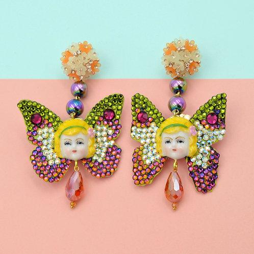 TIMBEE LO 黃髮仙女蝴蝶耳環 藝術品飾品系列 綴滿施華洛水晶石