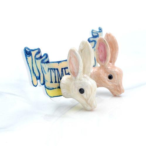 TIMBEE LO 兔子頭耳釘 粉紅 米白 樹脂琺瑯手繪塗層 限量商品