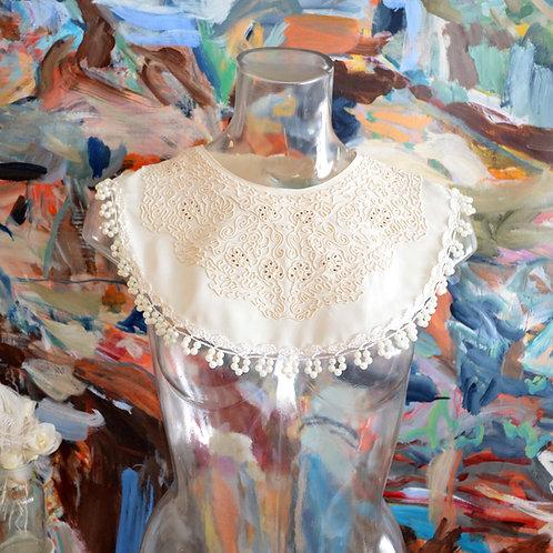 TBL改裝款日本二手刺繡線花領綴蕾絲珍珠裝飾假領子領飾 首飾古著