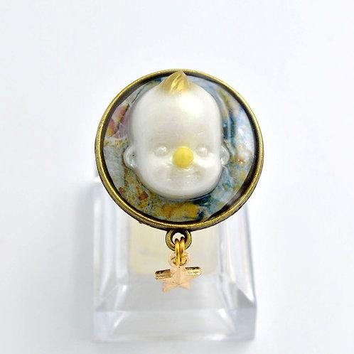 金/白色 娃娃頭戒指