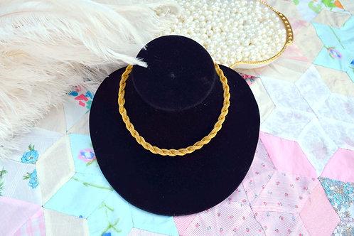 鍍金高級工藝 扭紋編織麻花項鏈 日本高級二手中古珠寶首飾