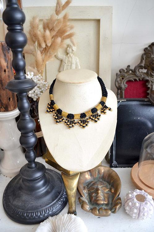 鍍金鑲黑色珠子編織復古項鏈 高貴優雅 日本二手中古珠寶首飾古著