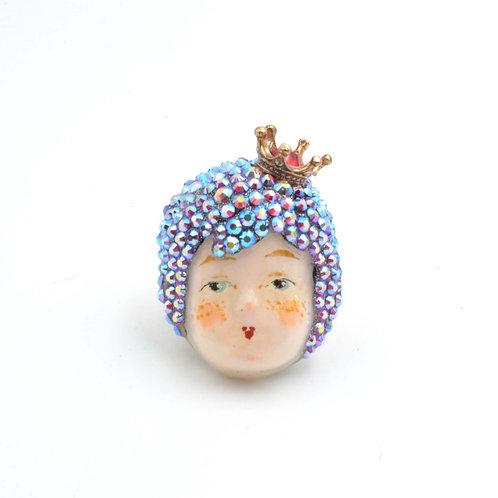 施華洛水晶頭髮小皇冠 手繪娃娃黃銅戒指 銅質可翻新可調整尺寸 綴施華洛水晶