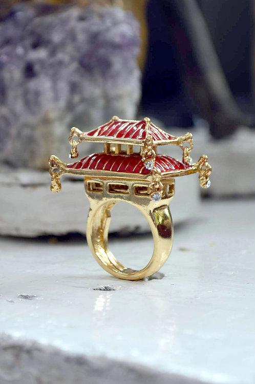 TIMBEE LO 紅色日本立體城堡戒指 內置彈性尺寸調整器