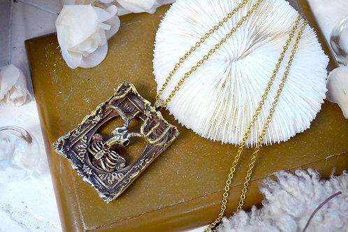 黃銅立體鹿骨相框項鍊 黃銅材質 可以永久擦亮 可調較尺寸