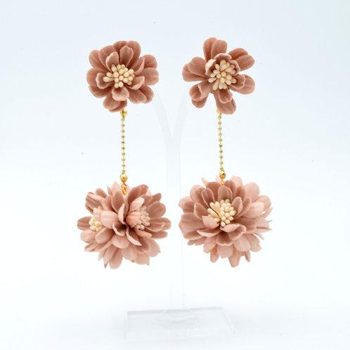 蜜桃粉紅色立體壓花雛菊花球耳環  Peach Coral Daisy Ball Earring