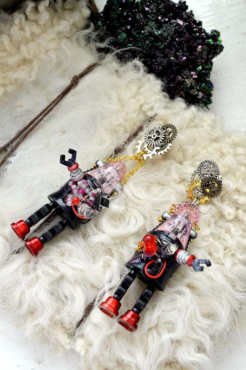 手工製 爆炸機械人耳環 齒輪耳釘 懷舊機器人 STEAMPUNK