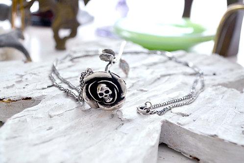 白銅立體骷髏玫瑰花染黑鏤空圓形手鐲 鉑銅材質