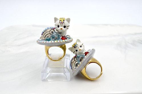 灰白色貓咪綴水晶裝飾戒指 銅質戒指可調整尺寸