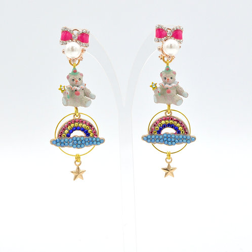 彩虹小熊綴施華洛水晶耳環