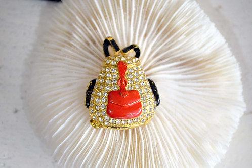 水鑽背包黑紅色鍍金胸針 高貴優雅 日本高級二手中古珠寶首飾