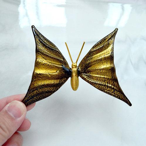 金色立體玻璃蝴蝶翅膀胸針 日本高級二手古著珠寶首飾貴婦少女
