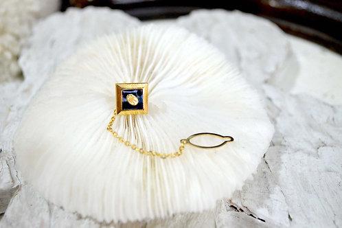 華麗金色黑色方型小logo胸針 高貴優雅 日本二手中古珠寶首飾古著