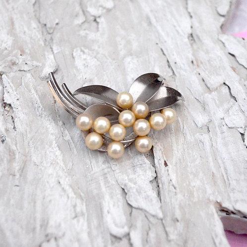 華麗鍍銀珍珠立體胸針 高貴優雅 日本高級二手中古珠寶首飾