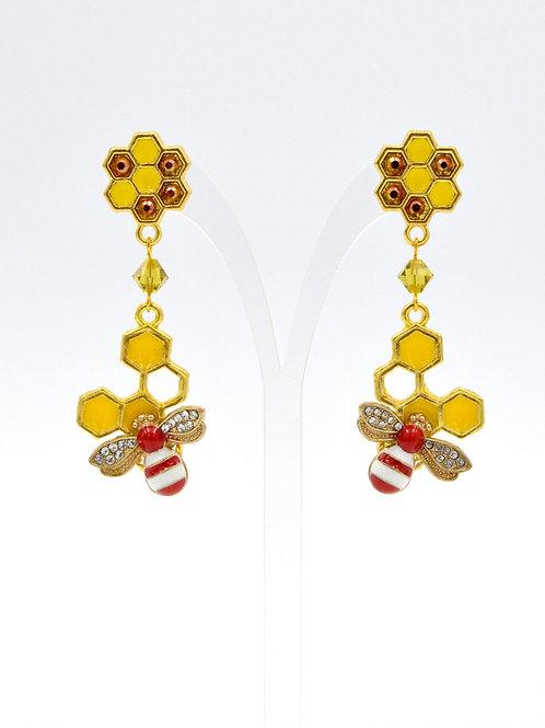 紅色小蜜蜂耳環