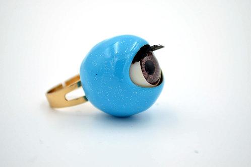藍色活動眼睛戒指 閃粉糖果色系