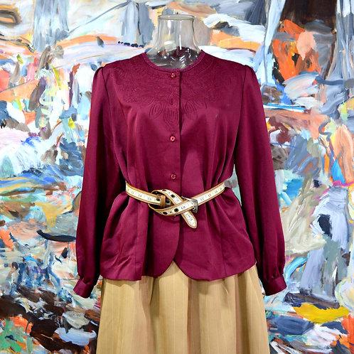 酒紅色刺車花繡領口寬鬆開胸外套附肩墊 優雅貴婦 日本中古古著