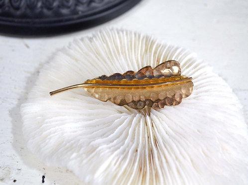 葉子造型鍍金暗花胸針 高貴優雅 日本高級二手中古珠寶首飾