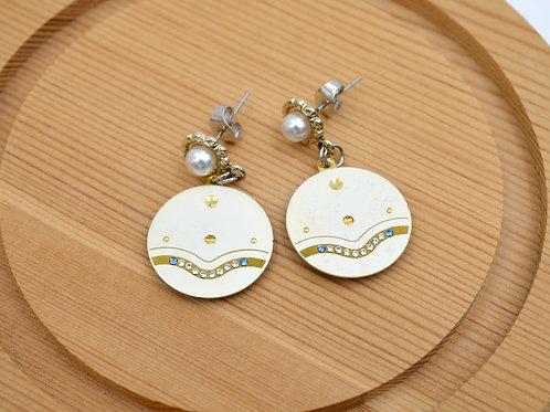 白色水鑽古董錶面耳環  Golden Vintage Dial Earrings