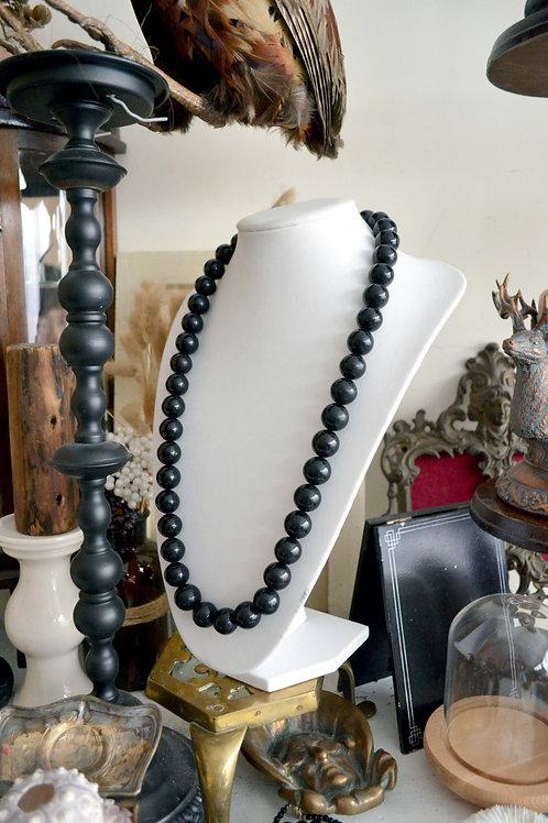 超美黑色樹脂圓型珠子項鍊  高貴優雅 日本二手中古珠寶首飾古著