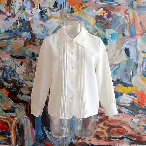 奶油色車花刺繡花紋領口蕾絲領長袖襯衫 高貴優雅 日本中古古著