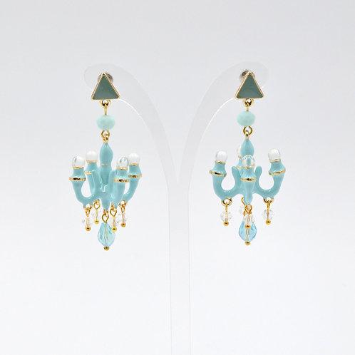 TIMBEE LO 天藍色 迷你吊燈耳環 法式樹脂搪瓷塗層 Sky Blue Mini Chandelier Earring
