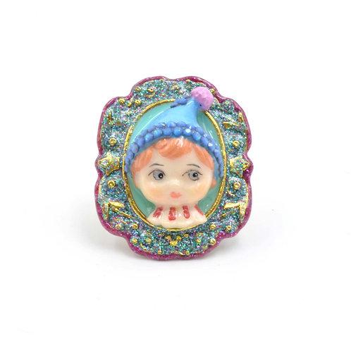 藍色小精靈娃娃戒指 黃銅可翻新不掉色 可調整尺寸 綴施華洛水晶