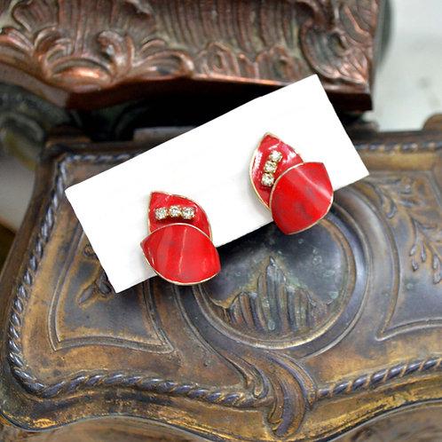 中古紅色薔薇閃鑽耳夾 貴婦淑女 日本高級二手古著珠寶首飾