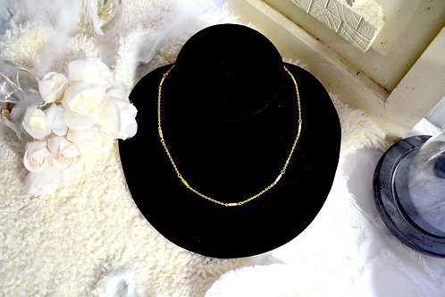 鍍金幼鏈拼小長方塊 貴婦少女 輕珠寶 日本高級二手古著珠寶首飾