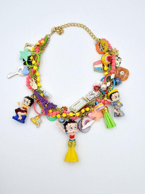 Betty Boop 豪華珠寶風繽紛吊飾項鍊