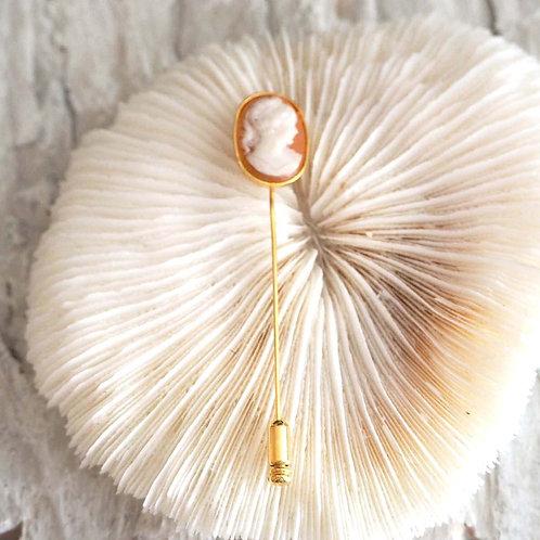 CAMEO美國手工雕刻貝殼浮雕貴婦胸針 日本高級二手中古珠寶首飾