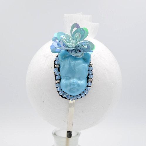 藍色貓耳娃娃頭綴珠片網飾髮箍