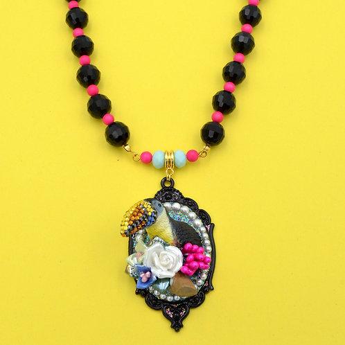 大嘴鳥鸚鵡花園寶石水晶項鍊