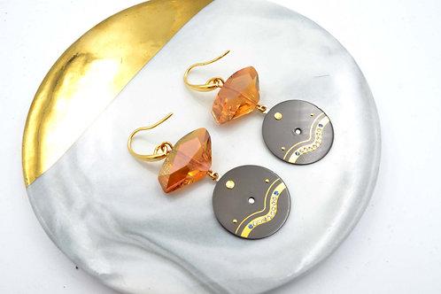 茶色施華洛不規則水晶石綴古董錶面耳環 Brown Swarovski Crystal with Vintage Watch Dial Earri