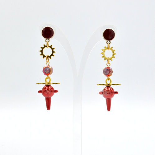 紅色星球流星槌齒輪耳環