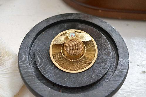 24K鍍金立體帽子造型胸針 高貴優雅 日本二手中古珠寶首飾老件