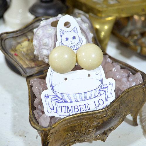 簡約圓型奶白樹脂耳環耳夾 高貴優雅 日本二手中古珠寶首飾古著