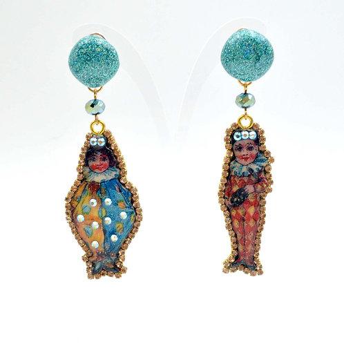 美國木片小丑娃娃圖案印花木片耳環 綴施華洛水晶鍊 接受訂製時久