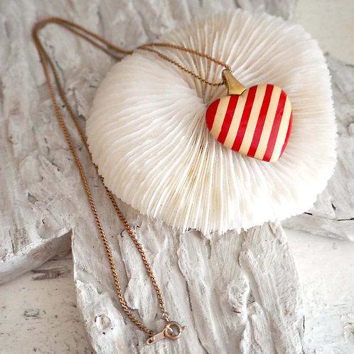 樹脂紅白間條心型吊墜項鍊 日本高級二手中古珠寶首飾 淑女頸鍊