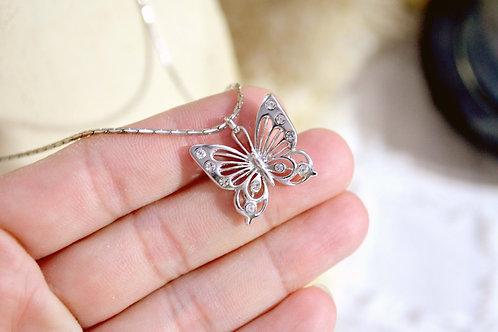 鍍銀水鑽蝴蝶項鍊 貴婦少女 輕珠寶 日本高級二手古著珠寶首飾