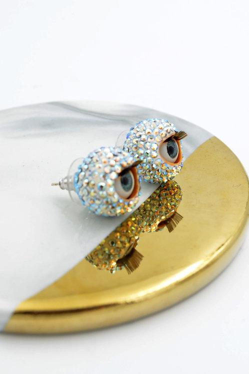 綴施華洛水晶12mm眼珠耳釘