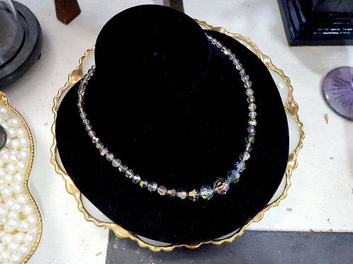 幻彩閃亮珠子中古銀扣項鍊 貴婦淑女 日本高級二手古著珠寶首飾