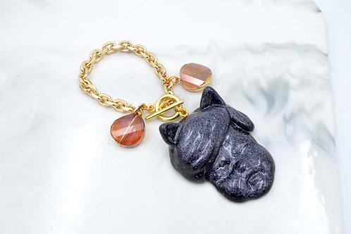 貓耳娃娃公仔手鍊 手袋掛包裝飾 鍍18K金鍊不掉色 施華洛水晶石
